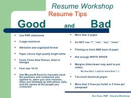 Example Of A Good Resume Amazing RDrew Resume Workshop