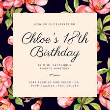 Dark Pink Flowers 40th Birthday Invitation Templates By Canva Gorgeous Birthday Invitation Pictures