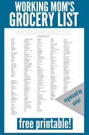 Grocer List Working Mom Grocery List Working Mom Blog Outside The
