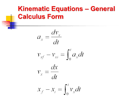 50 kinematic equations general calculus form
