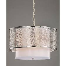 cassandra 3 light intricate circular pattern silver gold shade satin nickel chandelier 12 5
