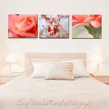 chic large wall decorations living room: canvas art flower photography coral wall art set  floral canvas prints cottage chic