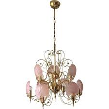 vintage pink and gold frosted glass shell chandelier 1970s