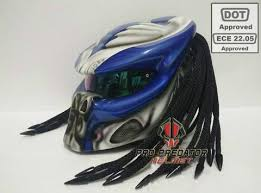 predator motorcycle dot approved helmet metallic blue custom