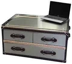 Black Steamer Trunk Coffee Table Trunk Coffee Tables Living Room Decorative Cupboard Cream Fur