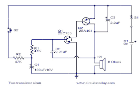 two transistor siren electronic circuits and diagram electronics two transistor siren