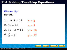 holt ca course 1 11 1 solving two step equations warm up solve