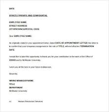 Termination Of Employment Letter Template Letter Of Termination Of Employment Template Sample Resume