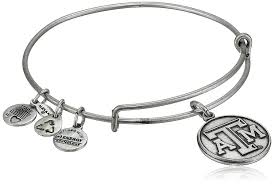 amazon alex and ani collegiate university of texas a m logo expandable rafaelian silver tone wire bangle bracelet alex and ani clearance jewelry