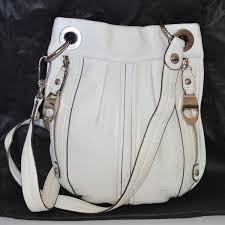 b makowsky leather cross purse white summer bag pre owned