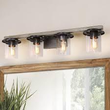 Long Bathroom Light Fixtures Laluz Bathroom Light Fixtures Faux Wood Bathroom Lights Over Mirror With Clear Glass Shades 33 Inches A03398