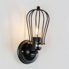 industrial wall light with black cage