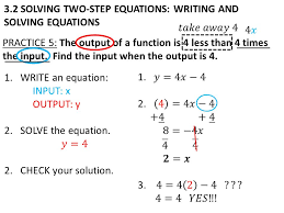 3 2 solving two step equations writing and solving equations practice 5 the output
