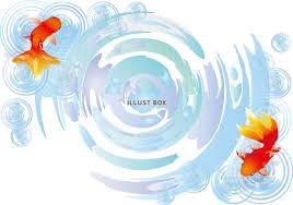 無料イラスト 金魚波紋背景素材水面イラスト夏水彩壁紙素材シンプル和風
