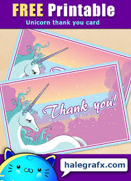 Our things to do over. Free Printable Unicorn Thank You Card