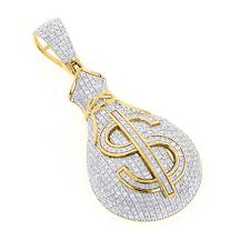 hip hop jewelry 10k gold diamond money bag pendant 1 15ct yellow image