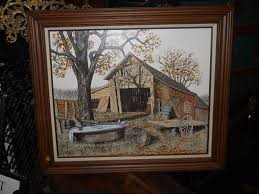 original h hargrove oil painting old barn in fall folk art paintings