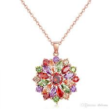2019 real plating rose gold necklaces for women swarovski crystals fl flower design gemstone diamond necklace 022 ne0134 from dhfiona 5 5 dhgate com