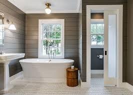 bathroom with nice shiplap walls