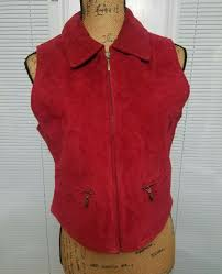 details about vtg leather great northwest womens petite sz m vest dark red 100 leather zipup