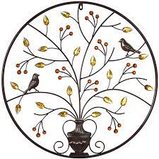 Features black, cherry red, and golden brown textured finishes; Amazon Com Mkun Iron Wall Sculptures Metal Round Wall Decor With Tree And Birds Art Great For Home Hotel Decoration Brown Everything Else