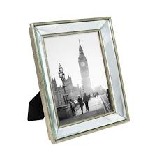 isaac jacobs 8x10 silver beveled mirror picture frame classic mirrored frame with deep slanted angle made for wall décor display photo gallery and wall