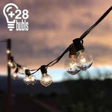 25ft waterproof globe string festoon lights 25 clear bulbs g40 indoor outdoor uk