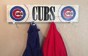Baseball Coat Rack Chicago Cubs Cubs coat hanger Cubs hat rack baseball hat 92