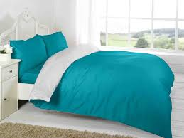 Teal Colour Bedroom Teal White Plain Colour Reversible Two Tone Complete Bed Set