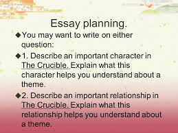 essay questions for the crucible crucible characters