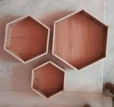 picture of repeat the above steps to obtain 6 hexagon shelves of three sizes