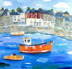 padstow chc01 boats harbour canvas by claire henley