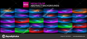 Mega Set Of Blue Neon Glowing Wave Backgrounds Abstract