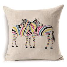 ... White Striped Zebra Cushion Cover High Quality Printed Cotton Linen Throw  Pillow Case Size: 45cm x 45cm. Weight: 80g. Color: As the picture