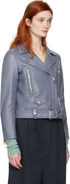 acne studios blue leather mock jacket women acne studios us largest collection