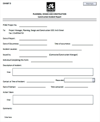 fire incident report form template template fire incident report form template construction format