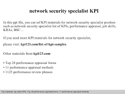 network security specialist kpi network security officer