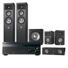 jbl home theater subwoofer. sony str-dh550 5.2-channel 4k av receiver with jbl studio 5.1 home theater speaker system jbl subwoofer