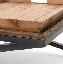 Industrial Coffee Table Jaxon Double Tray Top Wood Iron Industrial Rectangle Coffee Table