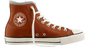 reduced lyst converse chuck taylor all star leather wool hi top casual shoes in brown for