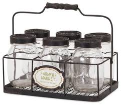 canning glass jars with basket set of 6 farmhouse