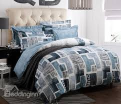 new arrival high quality 100 cotton newspaper print 4 piece
