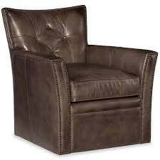 conner genuine leather upholstered swivel club chair in checkmate trade humble abode
