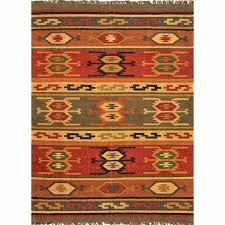 rugs flat weave tribal pattern jute red yellow area rug and green
