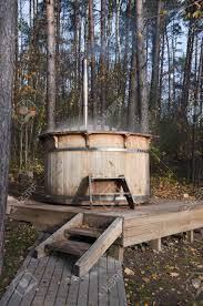Wooden Bathtub Wooden Bathtub Outside In The Resort Stock Photo Picture And