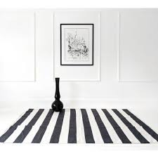 black and white stripe woven rug