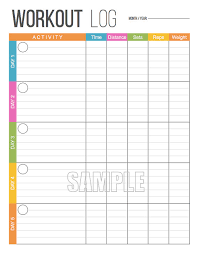 workout log printable fitness printable exercise log fitness tracker