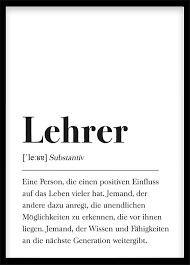 Lehrer Geschenk Poster Definition Lehrer Schwarz Weiß Dekoration
