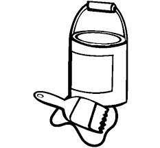An Opened Paint Can And Paint Brush Coloring Page Coloring Sky