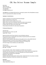Driver Resumes Cdl Bus Driver Resume Sample Bus Driver Duties Resume